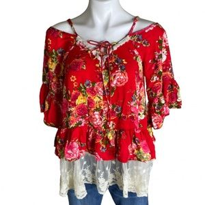 Umgee Floral Lace Cold Shoulder Bell Sleeve Top